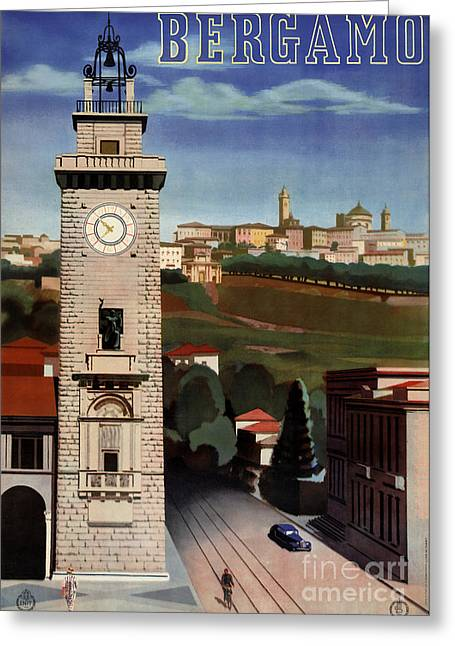 Europe Mixed Media Greeting Cards - Bergamo Vintage Travel Poster Restored Greeting Card by Carsten Reisinger