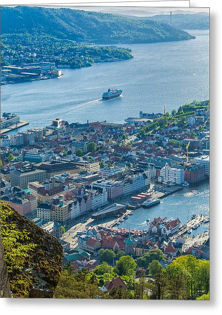Norway Harbor Greeting Cards - Bergen Norway Overview from Floyen Greeting Card by Alan Toepfer
