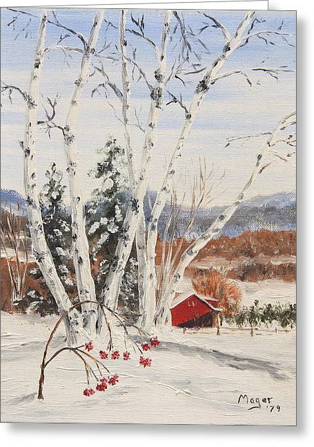 Berries Framed Prints Greeting Cards - Berkshire Winter II Greeting Card by Alan Mager