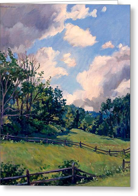 Abstract Realist Landscape Greeting Cards - Berkshires Backlight Greeting Card by Thor Wickstrom