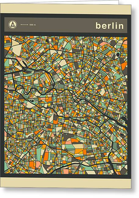 Berlin Art Greeting Cards - Berlin City Map Greeting Card by Jazzberry Blue