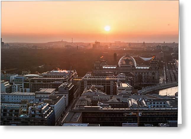 Westen Greeting Cards - Berlin - Government District Panorama Greeting Card by Jean Claude Castor