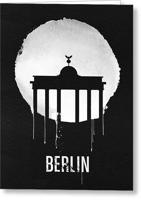 Berlin Landmark Black Greeting Card by Naxart Studio
