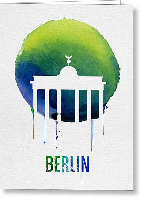 Berlin Landmark Blue Greeting Card by Naxart Studio