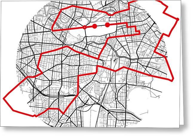 Berlin Marathon Greeting Cards - Berlin Marathon BW Greeting Card by Big City Artwork