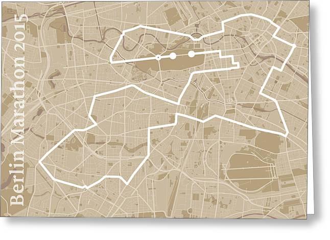 Berlin Marathon Greeting Cards - Berlin Marathon Course Map Greeting Card by Big City Artwork