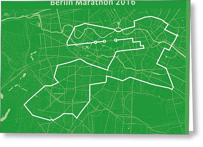 Berlin Marathon Greeting Cards - Berlin Marathon Green Greeting Card by Big City Artwork