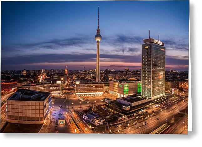 Berlin Pyrography Greeting Cards - Berlin - Skyline Alexanderplatz  Greeting Card by Jean Claude Castor