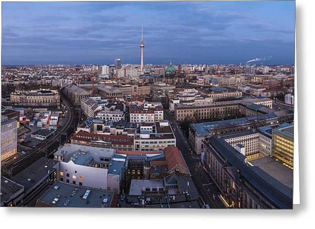Osten Greeting Cards - Berlin - Skyline Panorama during Blue Hour #2 Greeting Card by Jean Claude Castor