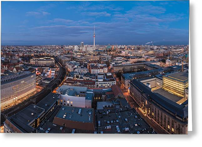 Osten Greeting Cards - Berlin - Skyline Panorama during Blue Hour #4 Greeting Card by Jean Claude Castor