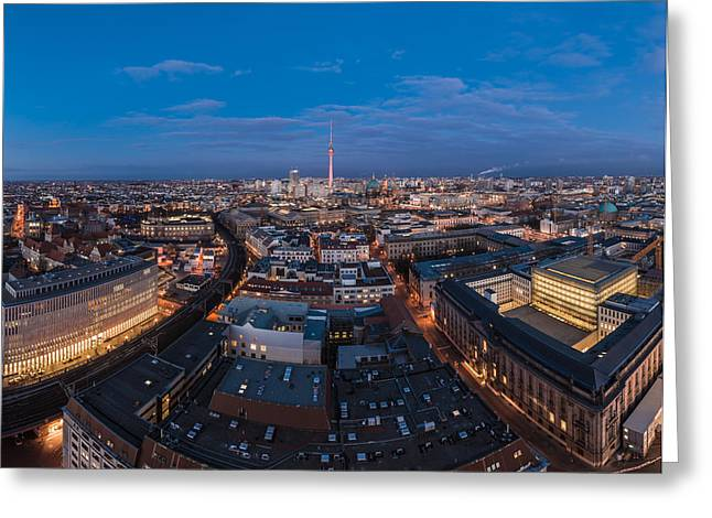 Osten Greeting Cards - Berlin - Skyline Panorama during Blue Hour #5 Greeting Card by Jean Claude Castor