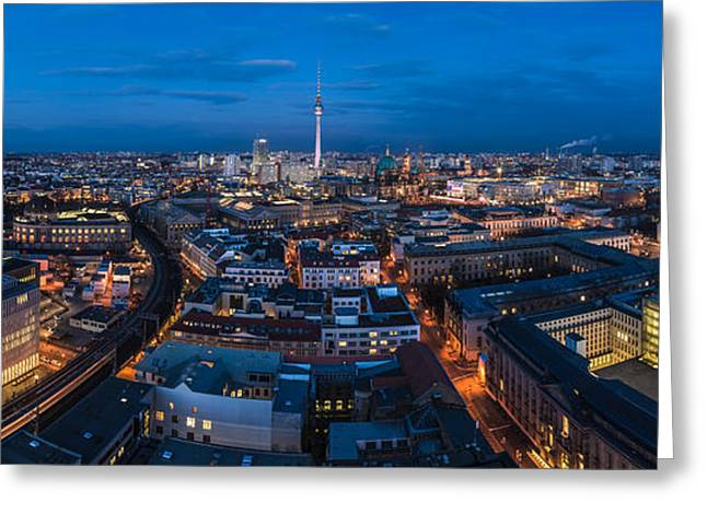 Osten Greeting Cards - Berlin - Skyline Panorama during Blue Hour #6 Greeting Card by Jean Claude Castor