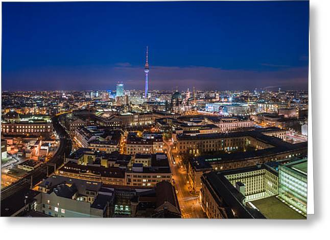 Osten Greeting Cards - Berlin - Skyline Panorama during Blue Hour #7 Greeting Card by Jean Claude Castor