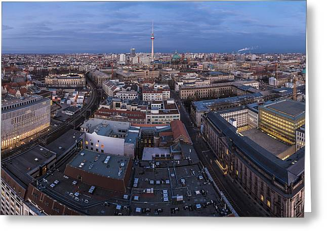 Osten Greeting Cards - Berlin - Skyline Panorama during Blue Hour Greeting Card by Jean Claude Castor