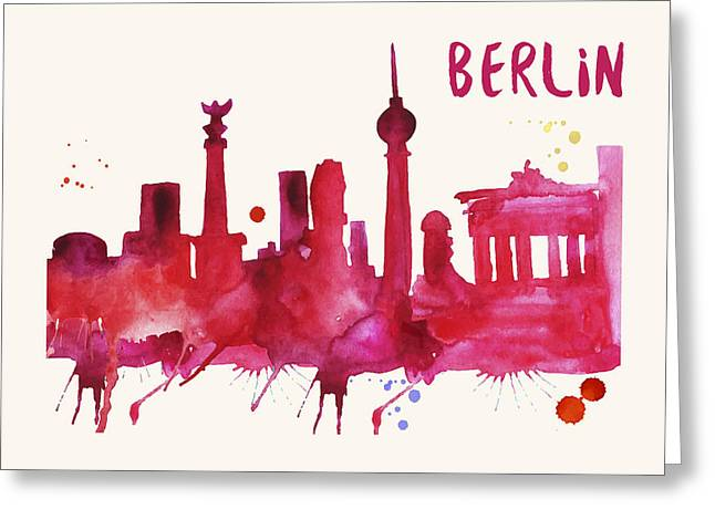 Berlin Skyline Watercolor Poster - Cityscape Painting Artwork Greeting Card by Beautify My Walls