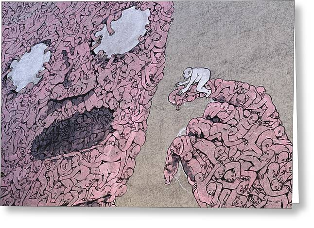 Schweitzer Greeting Cards - Berlin StreetArt Detail of a mural in Kreuzberg Greeting Card by Urs Schweitzer