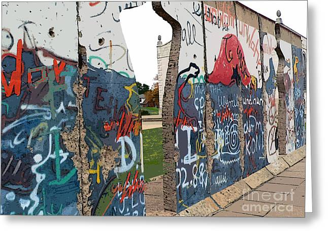 Berlin Wall Greeting Cards - Berlin Wall section at Westminster College Greeting Card by David Bearden