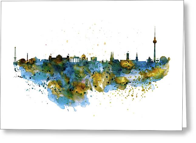 Berlin Watercolor Skyline Greeting Card by Marian Voicu