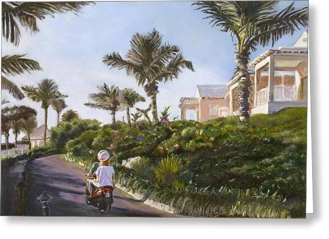 Couple On Beach Greeting Cards - Bermuda Cottages Greeting Card by Liz Dettrey