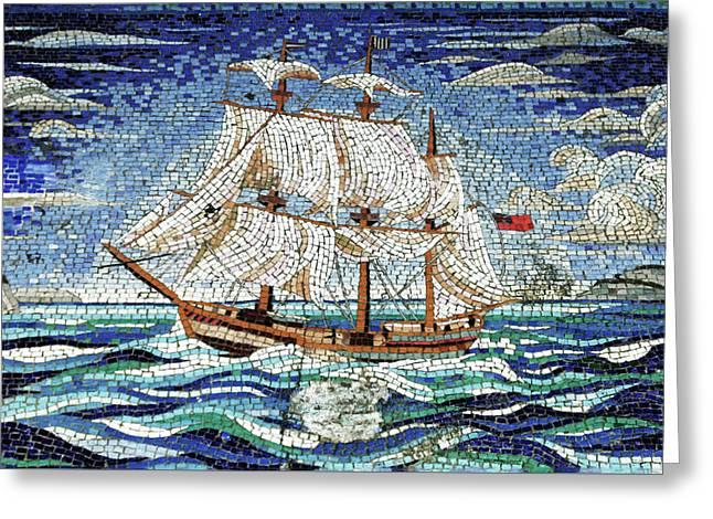 Bermuda Schooner Mosaic Greeting Card by Sandy Taylor