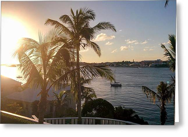 Sailboat Ocean Greeting Cards - Bermuda Sunset Sailboat Greeting Card by Stephen Lavoie