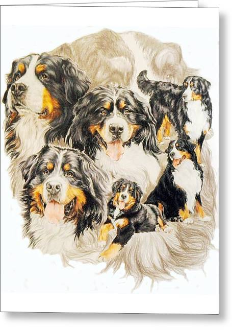 Working Dog Greeting Cards - Bernese Mountain Dog w/Ghost Greeting Card by Barbara Keith