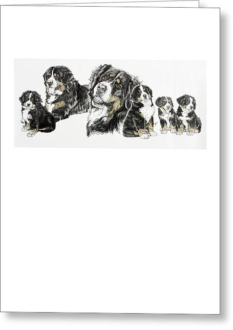 Working Dog Greeting Cards - Bernese Mountain Dog Greeting Card by Barbara Keith