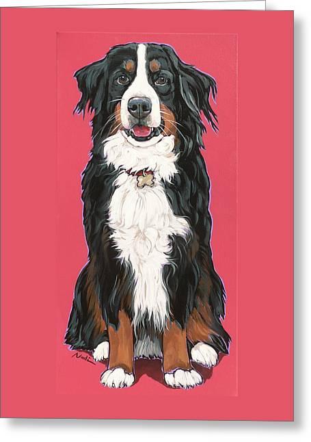 Nadi Spencer Greeting Cards - bernese Mountain Dog Beau Greeting Card by Nadi Spencer