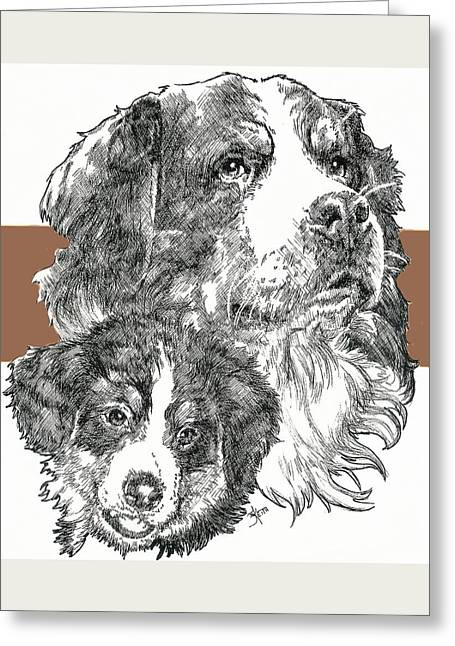 Working Dog Mixed Media Greeting Cards - Bernese Mountain Dog Father and Son Greeting Card by Barbara Keith