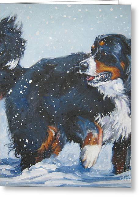 Berner Greeting Cards - Bernese Mountain Dog in drift Greeting Card by L A Shepard