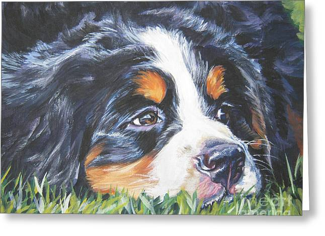 Dog Portraits Greeting Cards - Bernese Mountain Dog in grass Greeting Card by L A Shepard