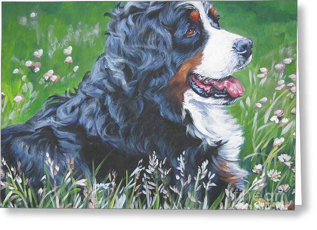 Berner Greeting Cards - Bernese Mountain Dog In Wildflowers Greeting Card by L A Shepard