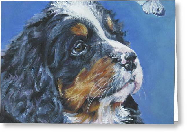 Berner Greeting Cards - Bernese Mountain Dog Pup Greeting Card by Lee Ann Shepard