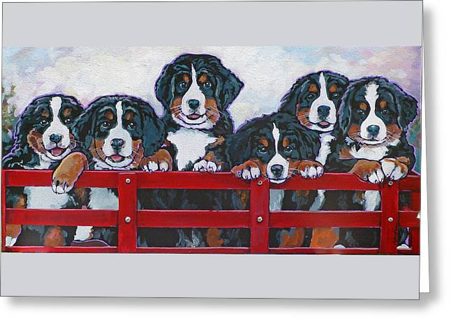 Nadi Spencer Greeting Cards - Bernese Mountain Dog Puppies Greeting Card by Nadi Spencer