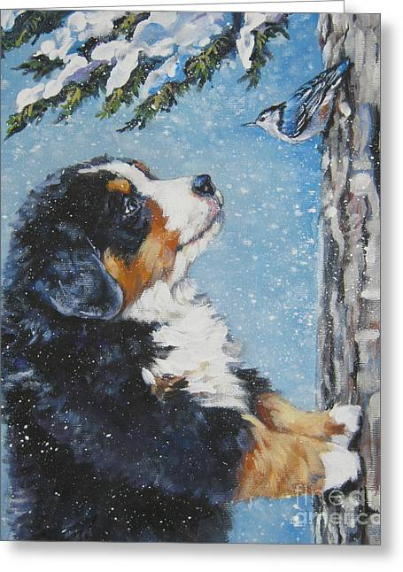 Bernese Greeting Cards - bernese Mountain Dog puppy and nuthatch Greeting Card by L A Shepard