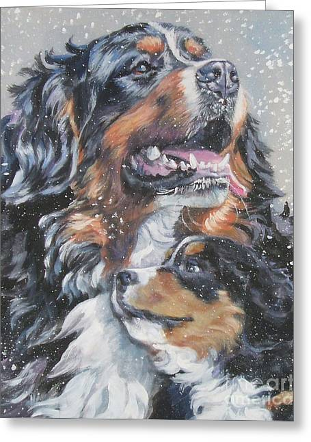 Bernese Mountain Dog Greeting Cards - Bernese Mountain Dog with pup Greeting Card by L A Shepard