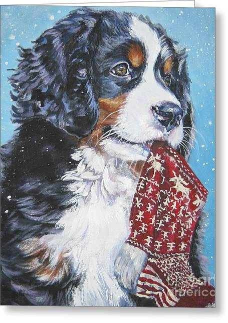 Berner Greeting Cards - Bernese Mountain Dog xmas stocking Greeting Card by L A Shepard
