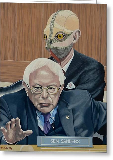 Bernie And The Reptilian Greeting Card by John Houseman