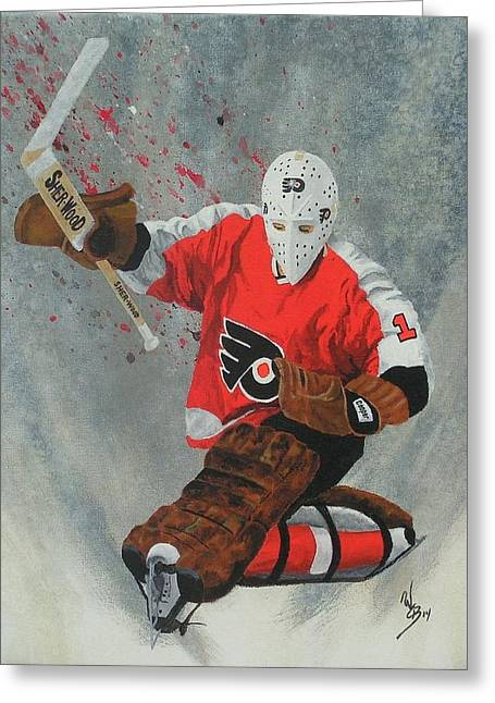 Flyer Paintings Greeting Cards - Bernie Parent Greeting Card by William Boehmer