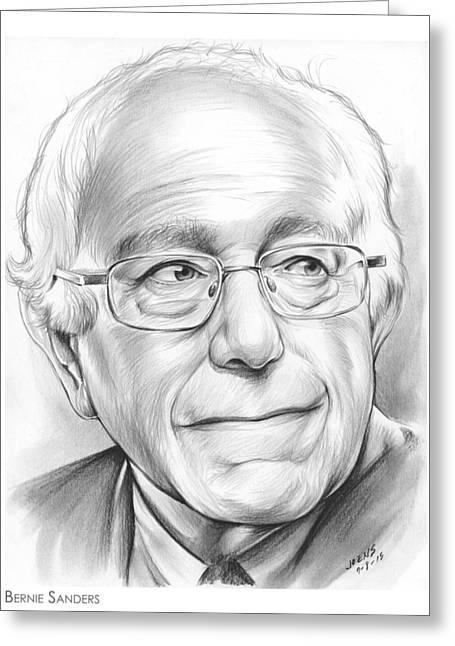 Presidential Drawings Greeting Cards - Bernie Sanders Greeting Card by Greg Joens