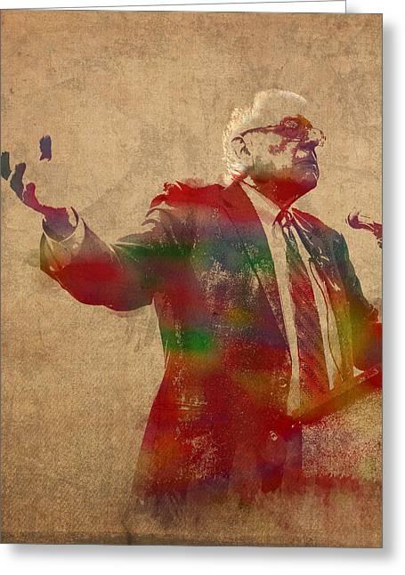 Bernie Sanders Watercolor Portrait Greeting Card by Design Turnpike