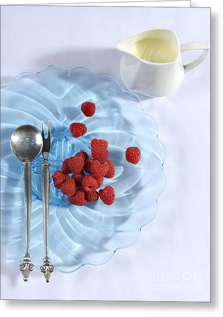 Menu Greeting Cards - Berries and cream dessert place setting with blue vintage art de Greeting Card by Milleflore Images