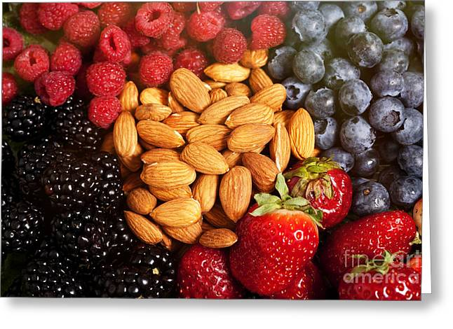 Healthy Greeting Cards - Berries and Nuts Greeting Card by Jan Tyler
