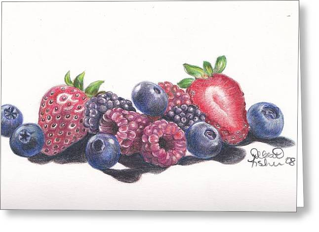Raspberry Drawings Greeting Cards - Berry Delight Greeting Card by Debbie Fischer