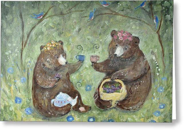 Recently Sold -  - Patch Greeting Cards - Berry Time with Bears Greeting Card by Katie Lewis