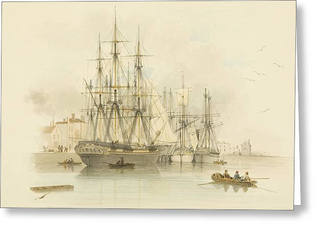 Berth Between The Two Mud Docks In The Grove Greeting Card by Thomas Leeson the Elder Rowbotham