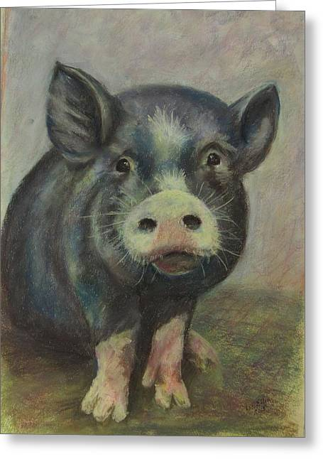 Pigs Pastels Greeting Cards - Bertie - a blue pig Greeting Card by Elizabeth  Ellis