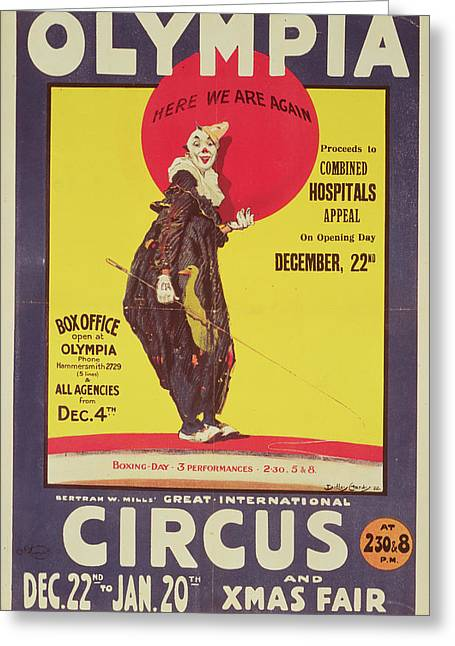 Charity Paintings Greeting Cards - Bertram Mills circus poster Greeting Card by Dudley Hardy