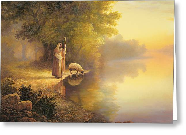 Sheep Greeting Cards - Beside Still Waters Greeting Card by Greg Olsen