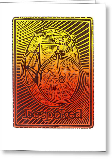Bespoked Bicycle Linocut Greeting Card by Mark Howard Jones